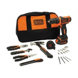 Black and Decker Cordless Drill Driver + Hand Tools Set + Bag - BDCDD12HTSA-B5