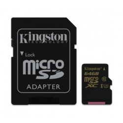 Kingston Digital Class U3 MicroSD Card + Adapter - 64GB