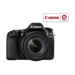 كاميرا كانون الرقمية إس إل آر بدقة ٢٤.٢ ميجا بكسل مع عدسة ١٨-١٣٥ ملم - واي فاي - أسود (EOS-80D)