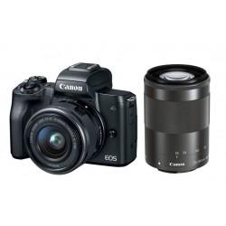كاميرا كانون إي أو إس إم ٥٠ الرقمية بدقة ٢٤ ميجابكسل، قابلة لتبديل العدسة مع عدسة ١٥ - ٤٥ ملم + عدسة ٥٥ - ٢٠٠ ملم مع محرك ستيبر لاستقرار الصورة