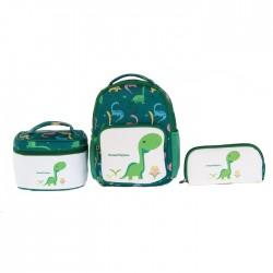 مجموعة حقائب داينو 3 في 1 للاطفال من اي كيو - اخضر (كبير)