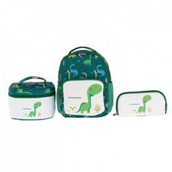 Large 3 set lunch box pencil school bag kids green colorful dino buy in xcite kuwait