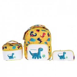 مجموعة حقائب داينو 3 قي 1 للاطفال من اي كيو - اصفر (كبير)