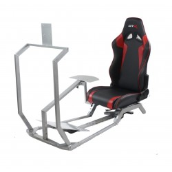 GTR Simulator GT Model with Mounts for Controls, Pedals and Display Adjustable Leatherette Seat - Black/Red