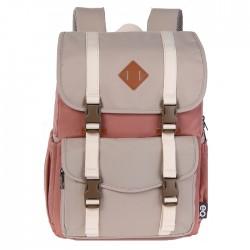 حقيبة المدرسة اي كيو بحجم 15.6 بوصة - وردي/ابيض