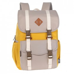 حقيبة المدرسة اي كيو بحجم 15.6 بوصة - اصفر/ابيض