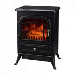 Black cast iron effect finish (Metal and plastic housing)                    2 heat settings  Power: 1850W Voltage: 220-240 V                          Flame effect can be used independently  Safety thermal cut-off device