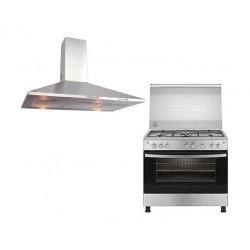 طباخ غاز فريجيدير ٩٠ x ٦٠ سم ٥ عيون + شفاط الطباخ بمدخنة من فريجيدير - ٩٠ سم