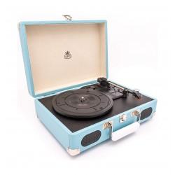 GPO Soho Vinyl Turntable + Built-in Speaker  - Blue 2