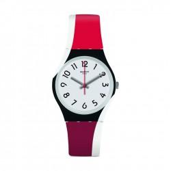 ساعة سواتش ريد تويست كوارتز للجنسين بعرض تناظري و حزام مطاطي - ٣٤ ملم - (GW208)