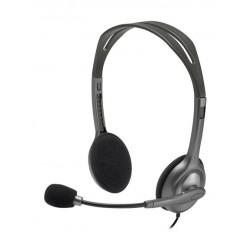 سماعة رأس ستيريو سلكية إتش ١١١ مع ميكروفون مانع للضوضاء من لوجيتك - رمادي / أسود (981-000593)