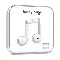 سماعة الأذن السلكية مع ميكروفون وجهاز تحكم من هابي بلجز – أبيض