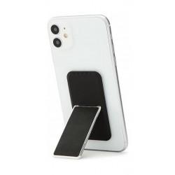HANDLstick Smooth Leather Smartphone Holder- Black/Chrome