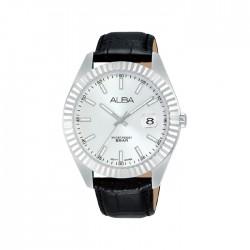 ساعة ألبا كاجوال للرجال بعرض تناظري وبحجم 42 ملم وحزام جلد   -  AS9K05X1