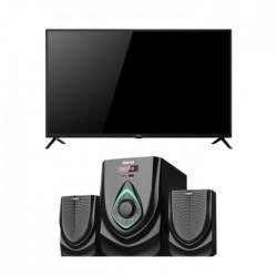 تلفزيون ونسا الذكي بحجم 40 بوصة ال اي دي بوضوح كامل (WLE40J7763S) + نظام وانسا ميني للوسائط المتعددة إف إم يو إس بي ٢,١ قناة بقوة ٤٠ واط (TK-521)