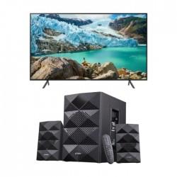 تلفزيون سامسونج الذكي 50 بوصة فائق الوضوح ال اي دي - UA50TU8000 + مكبر صوت ٢,١ قناة بتقنية البلوتوث من إف آند دي - A180X