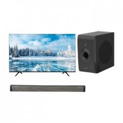 تلفزيون هايسنس 55 بوصة يو اتش دي سمارت ال اي دي - 55A7120FS + ساوند بار بقوة 30 واط من ونسا (LY-S218W) + مضخم صوت بقوة 30 واط من ونسا (LY-S218W)