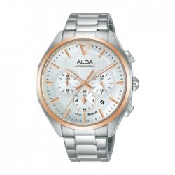 ساعة ألبا 42 ملم كرونوغراف معدنية كاجوال للرجال (AT3G80X1)