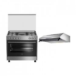 طباخ الغاز بيكو ٩٠ × ٦٠ سم - ٥ شعلات - رمادي (GG 15125 FX) + شفاط طباخ سفلي بحجم 90 سم من لاجيرمانيا - ستانليس ستيل (K90TUSX / 19)