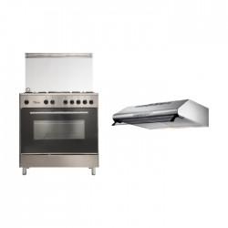 طباخ الغاز القائم من ونسا – ٨٠ × ٥٠ سم (WE8050X) + شفاط الطباخ المثبت أسفل الخزانة من لاجرمانيا – ٨٠ سم