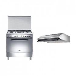 طباخ الغاز القائم من ونسا ٥٠x٨٠ سم - ٥ عيون (WC18502114X) + شفاط الطباخ المثبت أسفل الخزانة من لاجرمانيا – ٨٠ سم