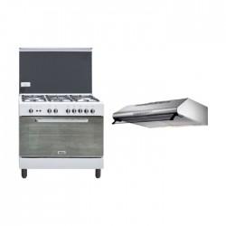 طباخ الغاز ونسا ٩٠ × ٦٠ - أبيض (WCI9502124WA) + شفاط الطباخ المثبت أسفل الخزانة من لاجرمانيا – ٩٠ سم