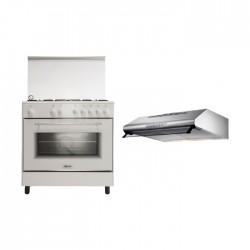 طباخ الغاز القائم من ونسا - ٨٠ × ٥٠ سم - ٥ عيون (WE8050W) + شفاط الطباخ المثبت أسفل الخزانة من لاجرمانيا – ٩٠ سم