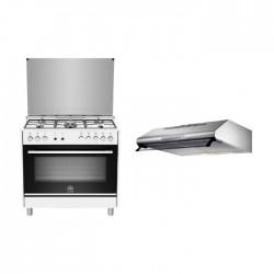 طباخ غاز ٥ شعلات مع فرن من لاجيرمانيا - ٩٠ × ٦٠ سم - (TUS95C31DW) + شفاط الطباخ المثبت أسفل الخزانة من لاجرمانيا – ٩٠ سم