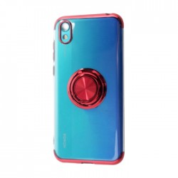 غطاء حماية هاتف هواوي 2019 Y5 مع خاتم من إي كيو -  أحمر