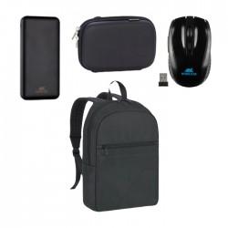 حقيبة لابتوب ريفاكيس 15.6 بوصة + باوربانك إتش دي دي بسعة 10000 ميللي أمبير بغطاء حماية + ماوس لاسلكي