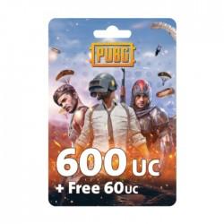 نقاط لعبة ببجي بقيمة (600 + مجاني 60 UC)