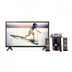 تلفزيون فيلبس ٣٢ بوصة عالي الوضوح إل إي دي - 32PHT4002 + مكبر الصوت اللاسلكي ٣٠٠٠ واط بتقنية البلوتوث من إن إتش إي (NH 01-02) - أسود