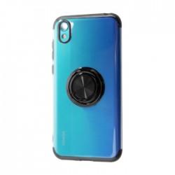 غطاء حماية هاتف هواوي 2019 Y5 مع خاتم من إي كيو -  أسود