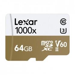 بطاقة ذاكرة احترافية من ليكسار سعة ٦٤ جيجابايت - ميكرو إس دي إكس سي – تقنية يو إتش إس II- سرعة ١٠٠٠إكس – فئة ١٠ -  مع قاريء بطاقات - LSDMI64GCBEU1000R