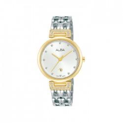 ساعة ألبا العصرية بحجم 30ملم للنساء بعرض تناظري وحزام معدني (AH7U90X1)