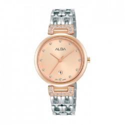 ساعة ألبا العصرية بحجم 30ملم للنساء بعرض تناظري وحزام معدني (AH7U88X1)
