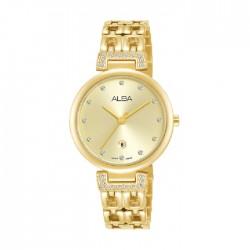 ساعة ألبا العصرية بحجم 30ملم للنساء بعرض تناظري وحزام معدني (AH7U86X1)