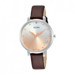ساعة ألبا العصرية بحجم 32ملم للنساء بعرض تناظري وحزام جلد (AH8703X1)