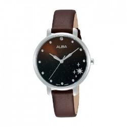ساعة ألبا العصرية بحجم 32ملم للنساء بعرض تناظري وحزام جلد (AH8701X1)