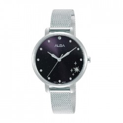 ساعة ألبا العصرية بحجم 32ملم للنساء بعرض تناظري وحزام معدني (AH8697X1)