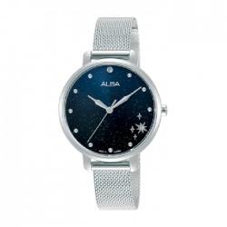 ساعة ألبا العصرية بحجم 32ملم للنساء بعرض تناظري وحزام معدني (AH8695X1)