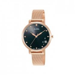 ساعة ألبا العصرية بحجم 32ملم للنساء بعرض تناظري وحزام معدني (AH8692X1)