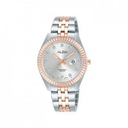 ساعة ألبا كاجوال للنساء بعرض تناظري وبحجم 32 ملم وحزام معدني  -  AH7T48X1