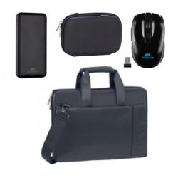 حقيبة لابتوب ريفا كيس 15.6 بوصة + باوربانك إتش دي دي بسعة 10000 ميللي أمبير بغطاء حماية + ماوس لاسلكي