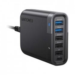 شاحن رافباور  FileHub RP-UM002 UK مع 6 منافذ USB-C  غير متصل 60 وات