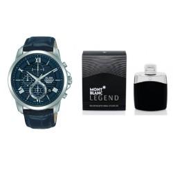 ساعة كوارتز بنظام كرونوغراف كاجوال 43 ملم للرجال من ألبا + مونت بلانك ليجند من مونت بلانك للرجال ١٠٠ مل خفيف + صندوق هدية لساعات ألبا