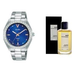 Alba 36mm Women's Analog Watch + Roses Vanille by Mancera For Women 120 ML Eau de Parfum + Alba Gift Watch Box