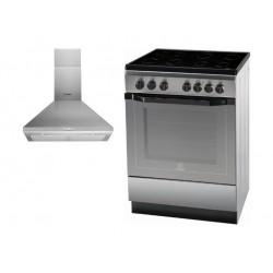 طباخ كهربائي قائم من إنديست ٦٠ × ٦٠ سم - ٤ عيون + شفاط مدخنة من إنديست - ٦٠ سم