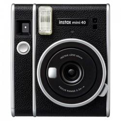 Instant Film Camera Fujifilm Instax Mini 40 Black Color Silver Accents Built In Flash
