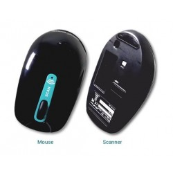 Iris 458735 Wireless Mouse Scanner Black - Front & Back